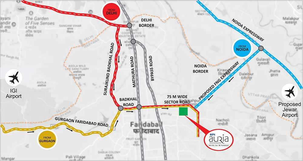 RPS Auria Residences Faridabad Location Map